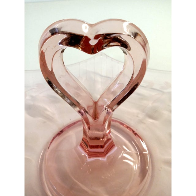 Pink Cut Glass Hollywood Regency Candy Tray - Image 8 of 10