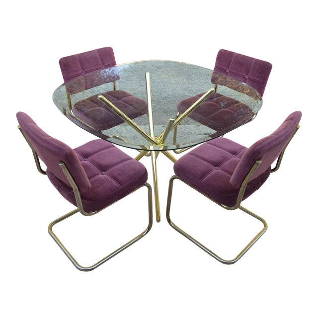 Vintage 70's Brass & Glass Table & Chairs - Image 1 of 8