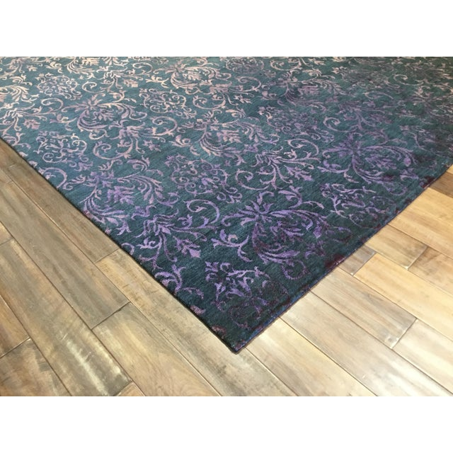 Contemporary Contemporary Blue and White Striped Rug - Jean Blue (8x10) For Sale - Image 3 of 7