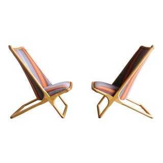 Pair of Ward Bennett 'Scissor Chairs' for Brickel Associates For Sale