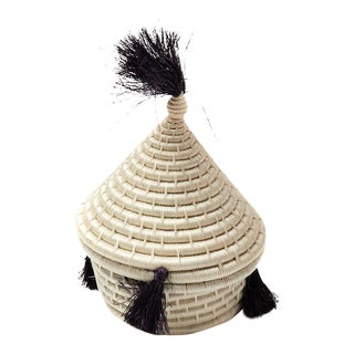 Handwoven Bedouin Black & White Triangle Basket
