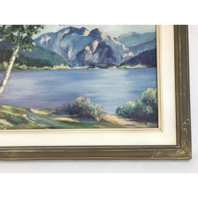Traditional 1940's Original Oil on Canvas Mountain Landscape Signed For Sale - Image 3 of 13