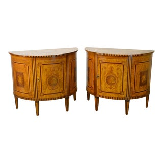 Satin Wood Marquetry Inlaid Demilune Commode Cabinets - a Pair