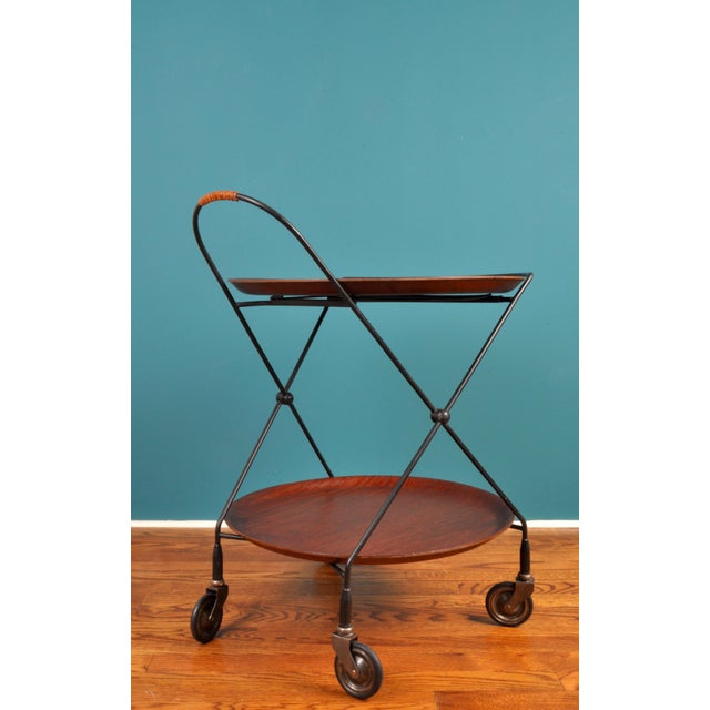Mid-Century Modern Collapsible Bar Cart, Sweden 1950s For Sale - Image 3 of 11