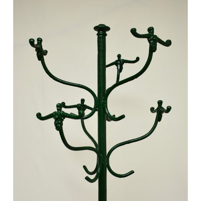 Metal Vintage Green Cast and Wrought Iron Hall Tree For Sale - Image 7 of 9