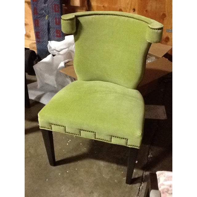 Modern Hollywood Regency Style Chartreuse Accent Chair For Sale - Image 4 of 5