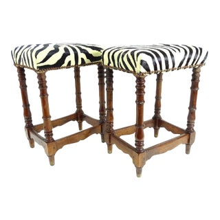 Pair of 19th Century Benches Upholstered in Zebra Fabric For Sale