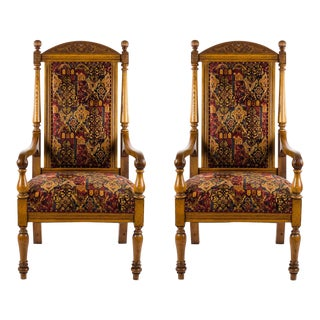 English Oak Throne Chairs - a Pair For Sale