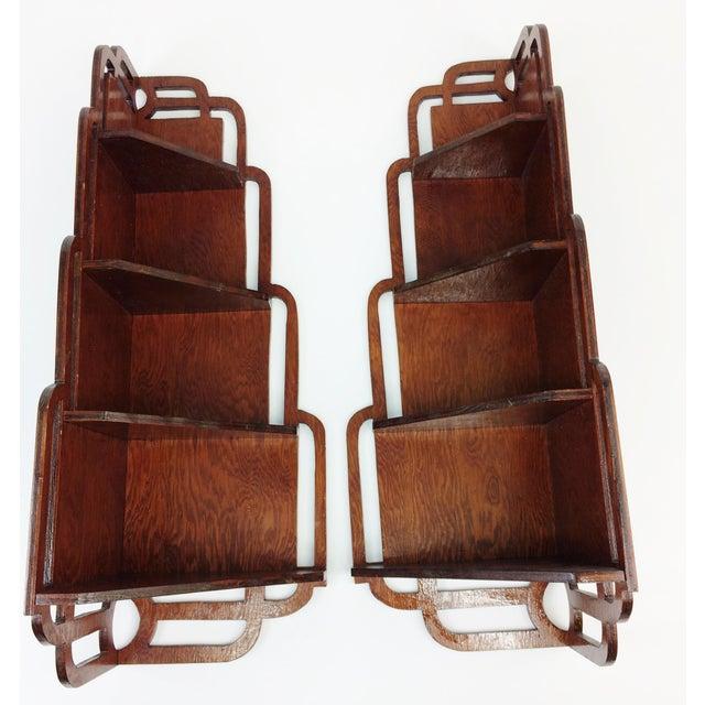 Vintage Wood Corner Curio Display Shelves - A Pair - Image 3 of 6