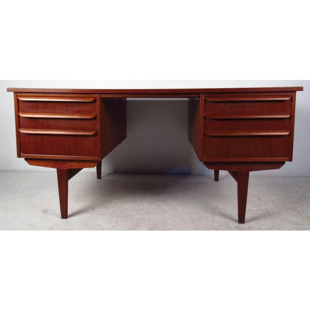Double-Sided Scandinavian Modern Teak Desk - Image 6 of 9
