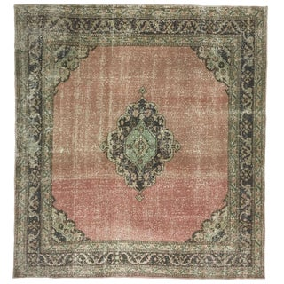 Distressed Turkish Square Medallion Carpet