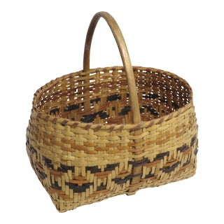 1910s Native American Hand Woven Maine Basket For Sale