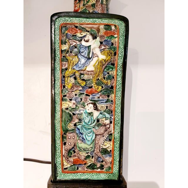 Ceramic Figural Asian Table Lamp For Sale - Image 7 of 8