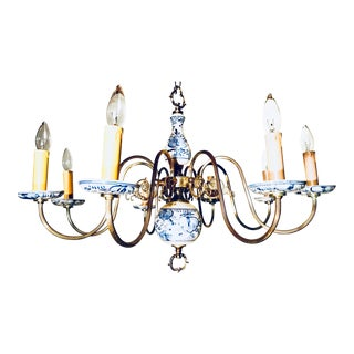 Superb Blue and White Vintage Eight-Arm Chandelier For Sale