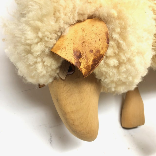 Vintage Lalanne style carved wood sheep in natural sheepskin.