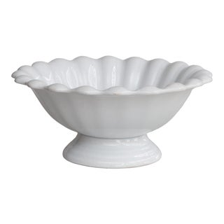 Antique 19th-Century English Fluted White Ironstone Footed Bowl For Sale