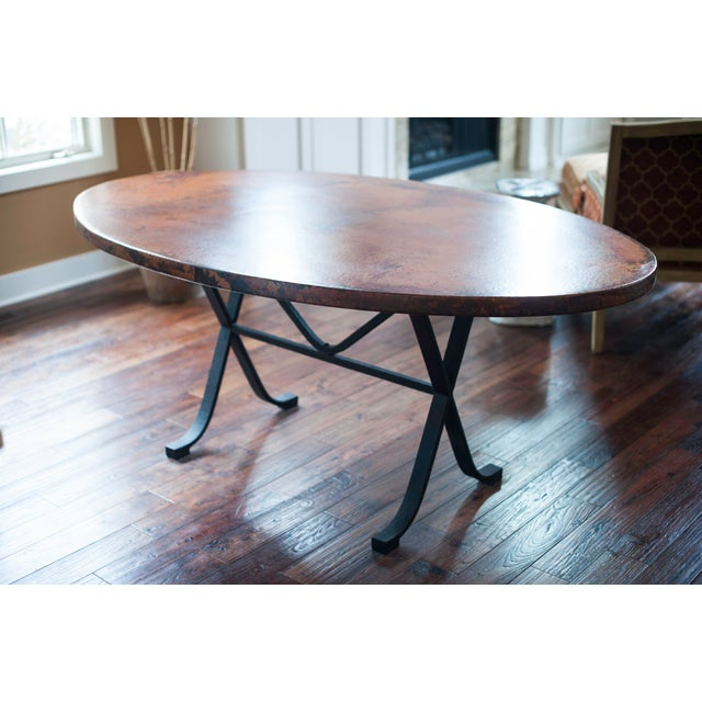 Arhaus Oval Copper Dining Table W/ Cast Iron Legs - Image 2 of 8