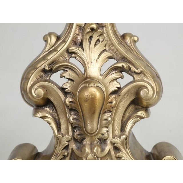 French Antique French Rococo Solid Bronze Andirons - a Pair For Sale - Image 3 of 13