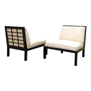 Pair of Lattice Back Slipper Chairs by Michael Taylor for Baker For Sale