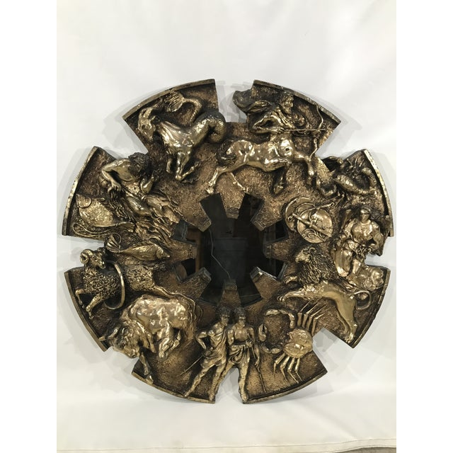 Resin Vintage Finesse Originals Brutalist Zodiac Wall Mirror For Sale - Image 7 of 13