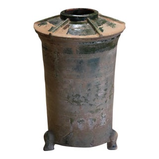 Antique Chinese Han Dynasty Green Glazed Jar For Sale