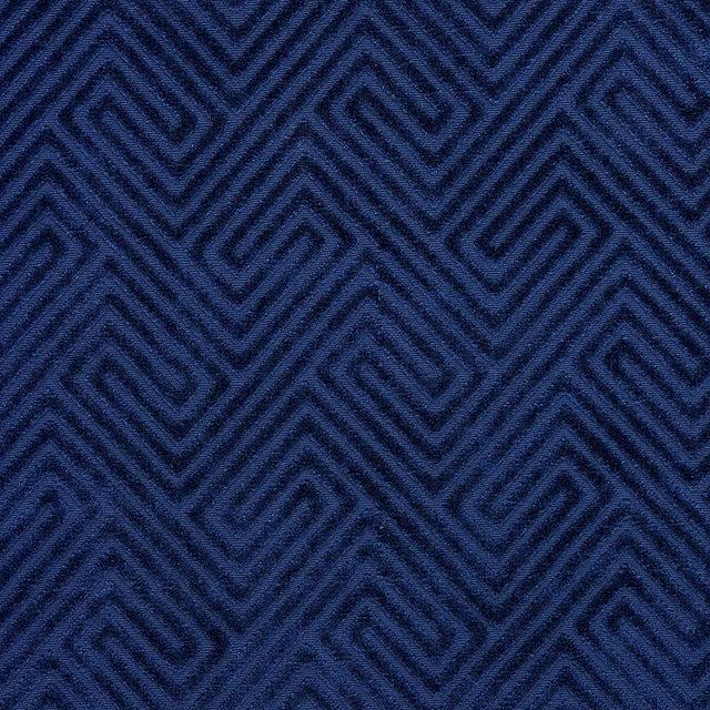 Transitional Scalamandre Meander Velvet in Navy Sample For Sale - Image 3 of 3