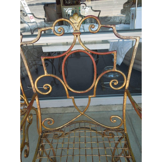 French Moderne Gold Gilt Iron Chairs by Jean-Charles Moreux - Set of 4 For Sale In Palm Springs - Image 6 of 10