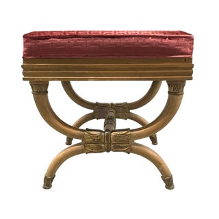 Vintage Neoclassical Stool With Greek Key Velvet Upholstery