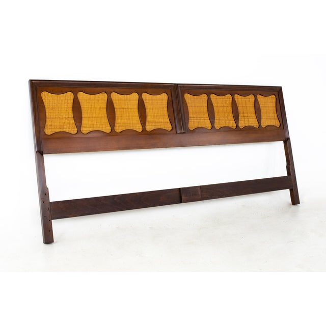 Mid 20th Century Kent Coffey Greenbrier Style Mid Century Walnut and Rattan King Headboard For Sale - Image 5 of 5
