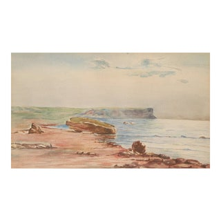 Original Vintage Coastal Watercolor Painting. For Sale