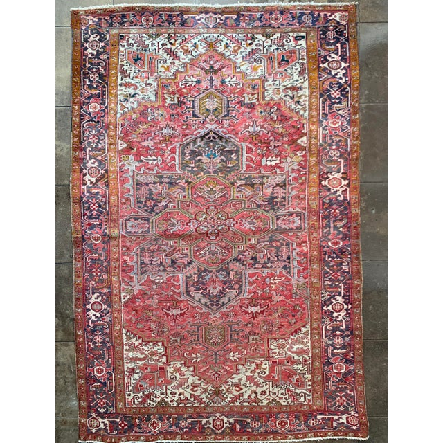 """1940s 1940's Multitone Persian Area Rug - 11' 10"""" X 7' 4.5"""" For Sale - Image 5 of 5"""