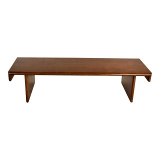 Vintage Walnut Stained Mahogany Bench Coffee Table Style of Frank Lloyd Wright for Henredon For Sale