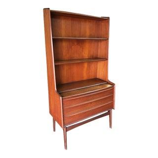 Danish Modern Teak Bookcase Cupboard Display Cabinet with Locks For Sale