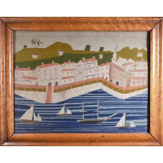 British Sailor's Woolwork Woolie of a Port Scene With Four Ships, Circa 1875 For Sale