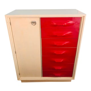 1970s Treco Space Age Cherry Red Gentleman's 6 Drawer Wardrobe Dresser For Sale