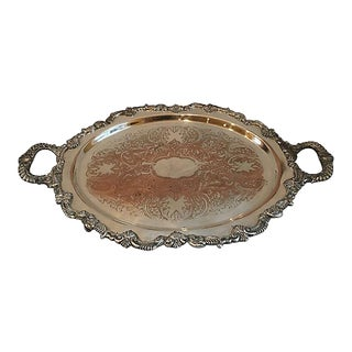 Large Sheffield Silver Plate Copper Serving Tray For Sale