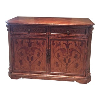 Traditional Emerson Et Cie Palermo Credenza With Floral Details and Adjustable Shelves For Sale