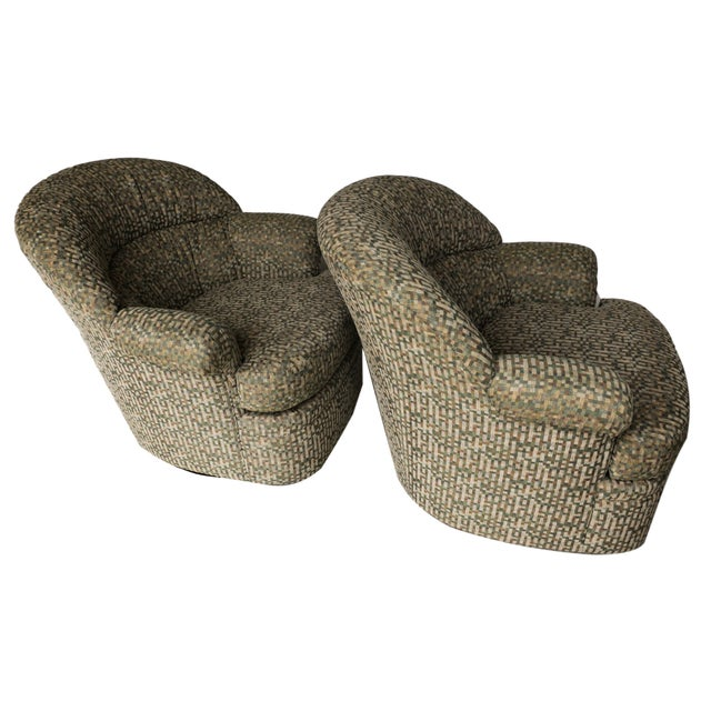 Pair Mid Century Modern Swivel Lounge Chairs - Image 8 of 9