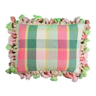 Brigid Berlin Pink, Green & Yellow Plaid Pillow For Sale