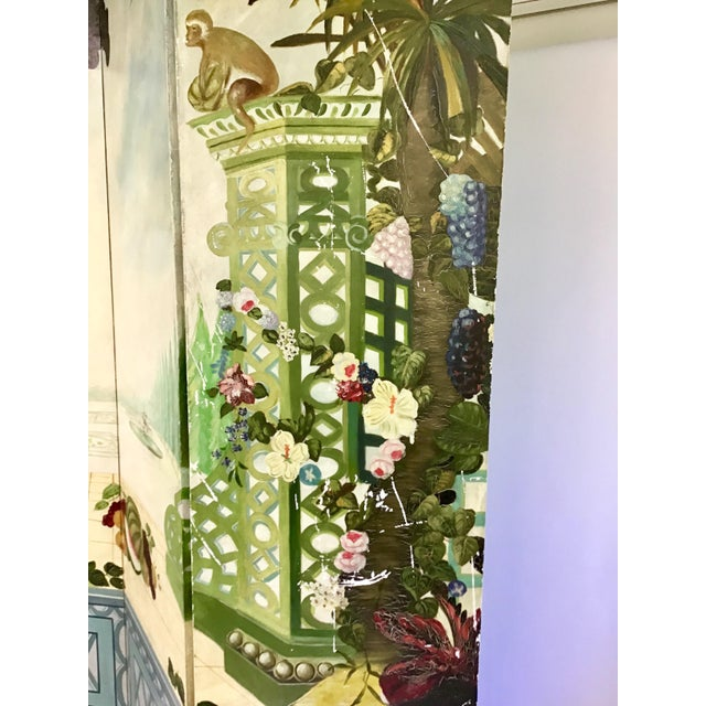 1980s Maitland Smith Handpainted 3-Panel Screen For Sale - Image 5 of 10