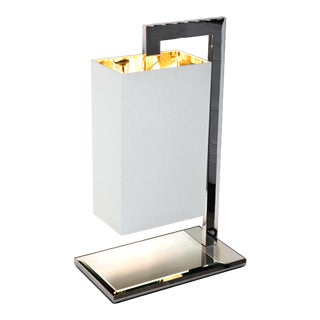 Contardi Coco Mega Table Lamp W/ Gold and White Percaline Shade For Sale