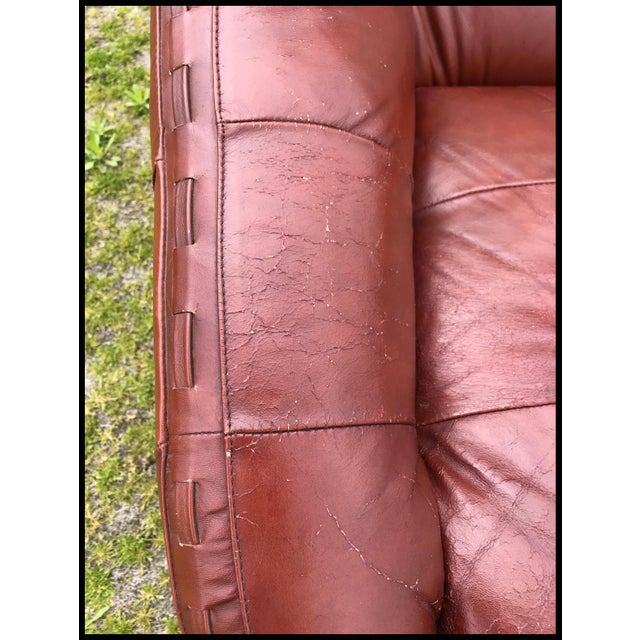 1960s Rare Jean Gillon Rosewood Leather Lounge Chair Ottoman Probel Brazilian For Sale - Image 5 of 11