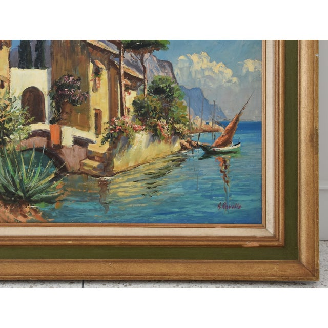 Midcentury Italian Mediterranean Lake & Village by A. Ravello For Sale - Image 4 of 10