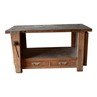 1930s French Rustic Beech Workbench For Sale