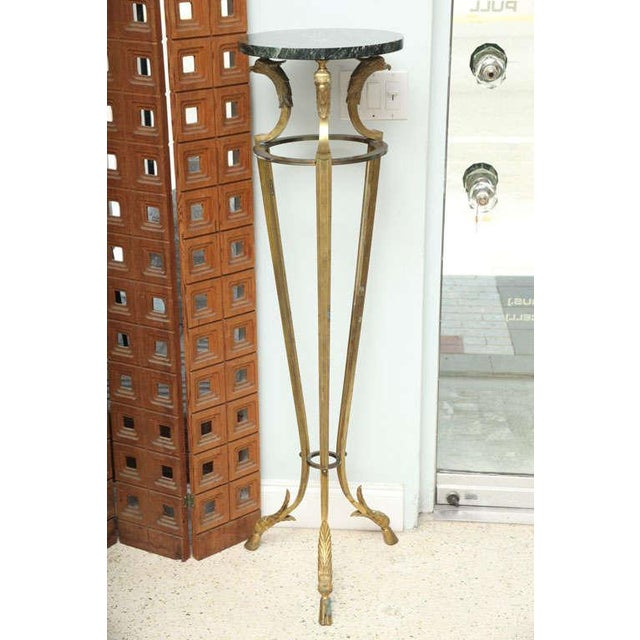 Green Pair of Maison Jansen Bronze and Marble Pedestals For Sale - Image 8 of 9