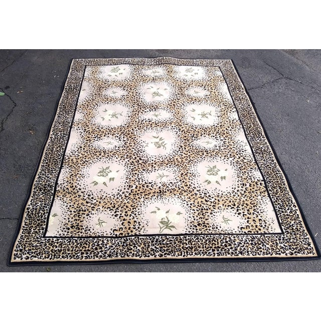 Textile Stark Studio Limited Edition-White Rose/ Leopard Print Rug For Sale - Image 7 of 7