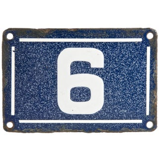 Vintage French Porcelain Enamel House Number 6 or 9 For Sale