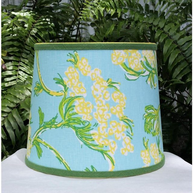 Lilly Pulitzer Fabric Blue Floral Blue Green Yellow Tropical Lampshade For Sale - Image 12 of 12
