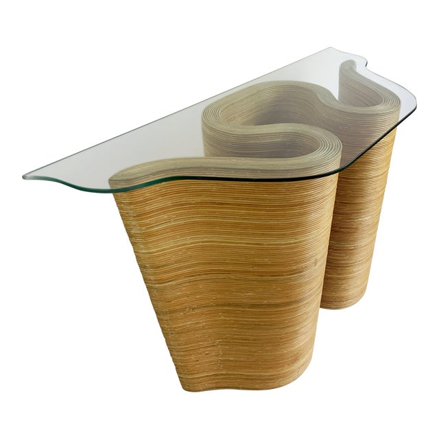 Pencil Reed Bamboo Curvy Ribbon Scroll Console Aft Gabriella Crespi For Sale