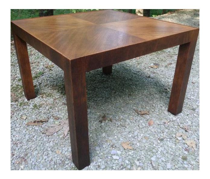 Mid Century Parsons Oak End Side Lamp Table For Sale